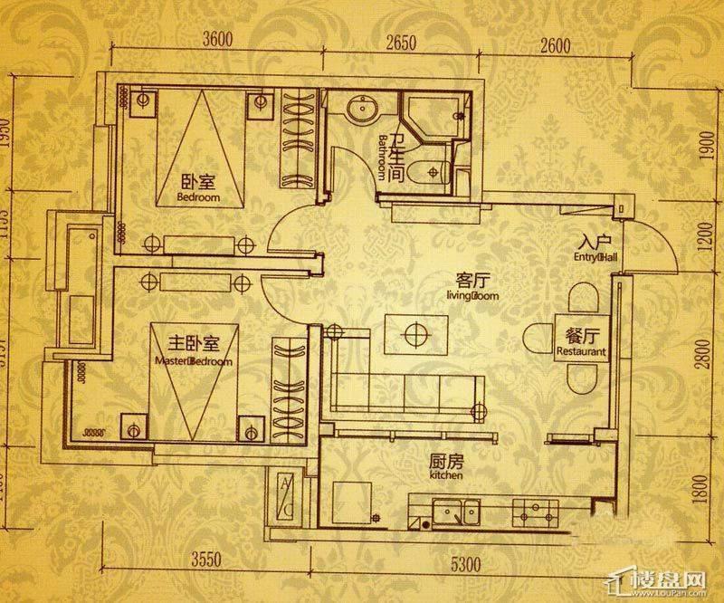 沈阳雅宾利花园C1户型2室2厅1卫