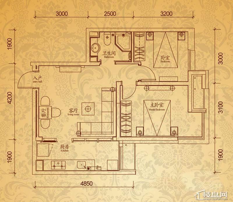 沈阳雅宾利花园C4户型2室2厅1卫