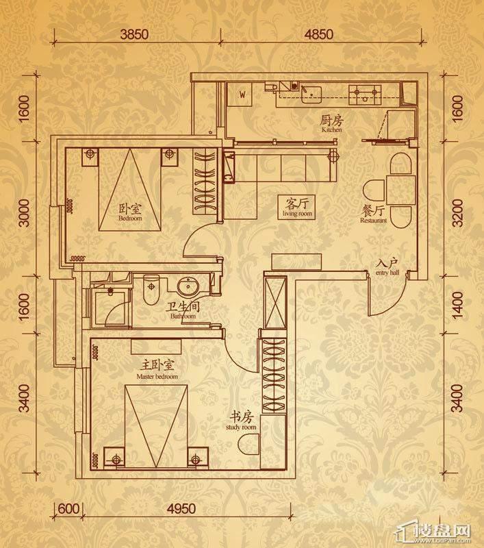 沈阳雅宾利花园D3户型2室2厅1卫