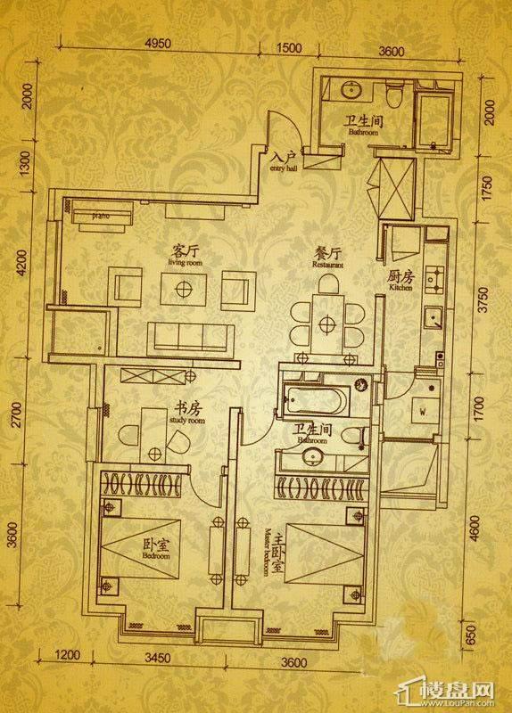 沈阳雅宾利花园H1户型3室2厅2卫