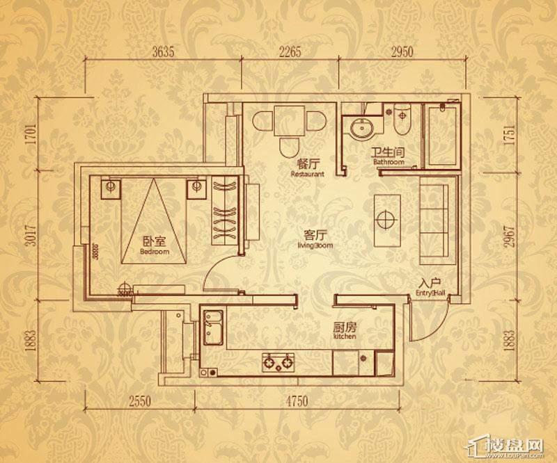 沈阳雅宾利花园一期A1户型1室2厅1卫