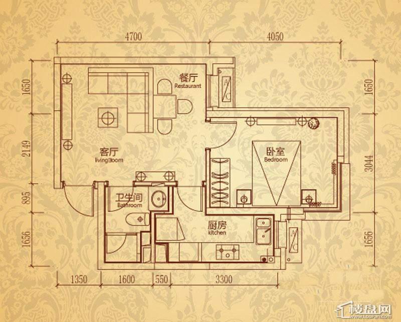 沈阳雅宾利花园一期A2户型1室2厅1卫