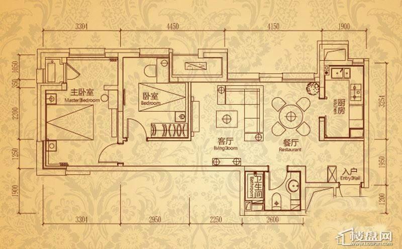 沈阳雅宾利花园一期D1户型2室2厅1卫