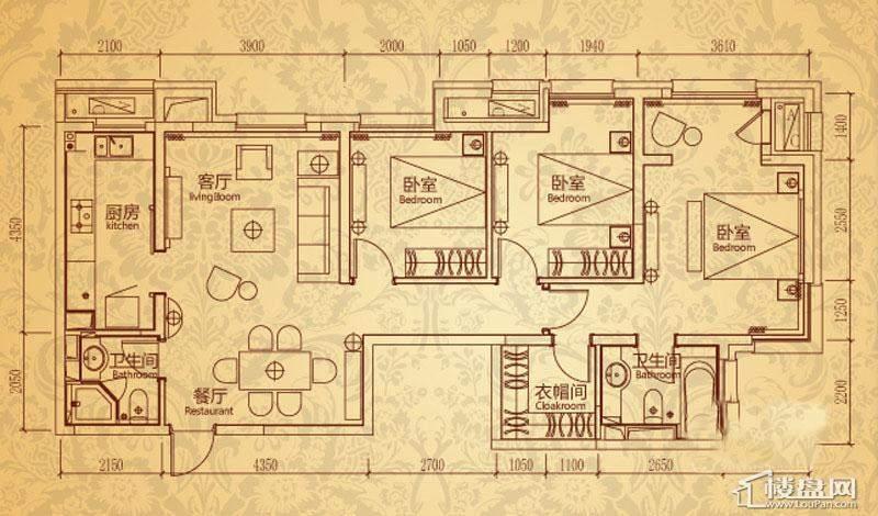 沈阳雅宾利花园一期G1户型3室2厅2卫