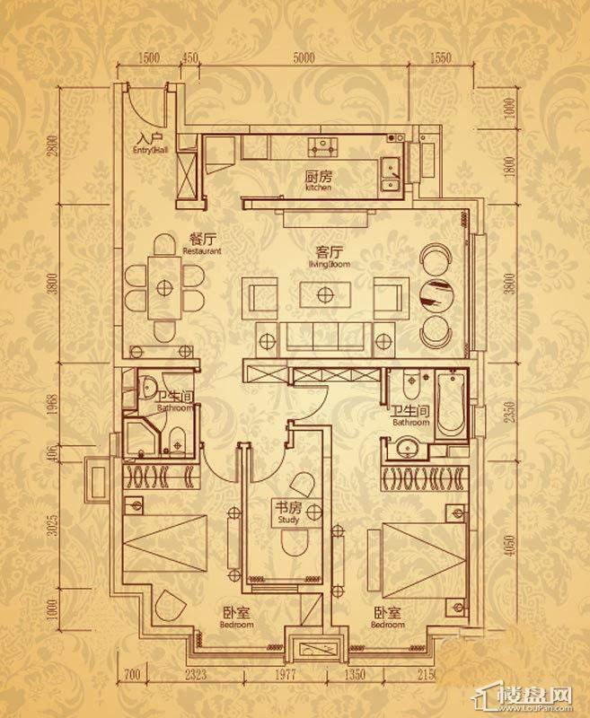 沈阳雅宾利花园一期I1户型3室2厅2卫