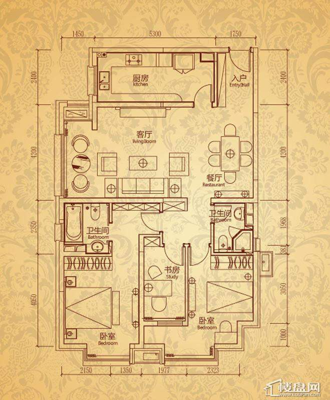 沈阳雅宾利花园一期K2户型3室2厅2卫