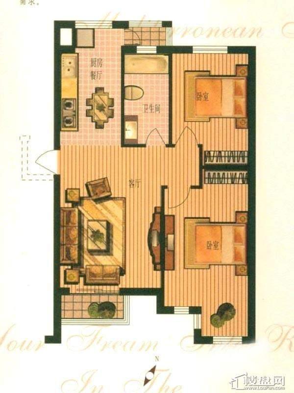 钻石湾地中海阳光多层标准层A户型图3室2厅1卫1厨