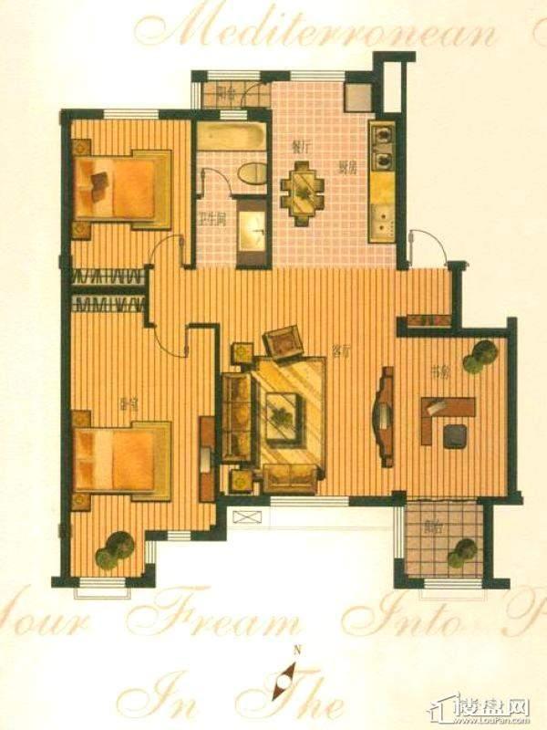 钻石湾地中海阳光多层标准层B户型图3室2厅1卫1厨