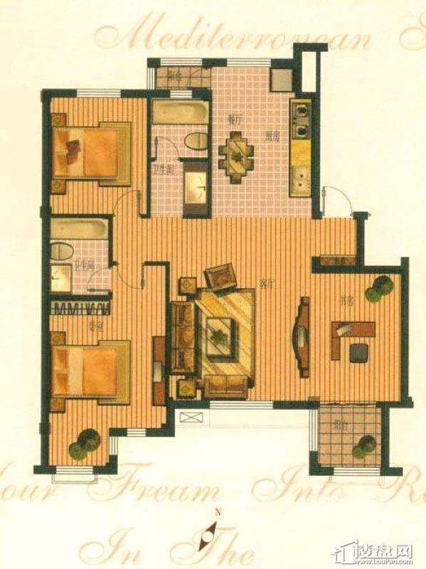 钻石湾地中海阳光多层标准层C户型图3室2厅2卫1厨