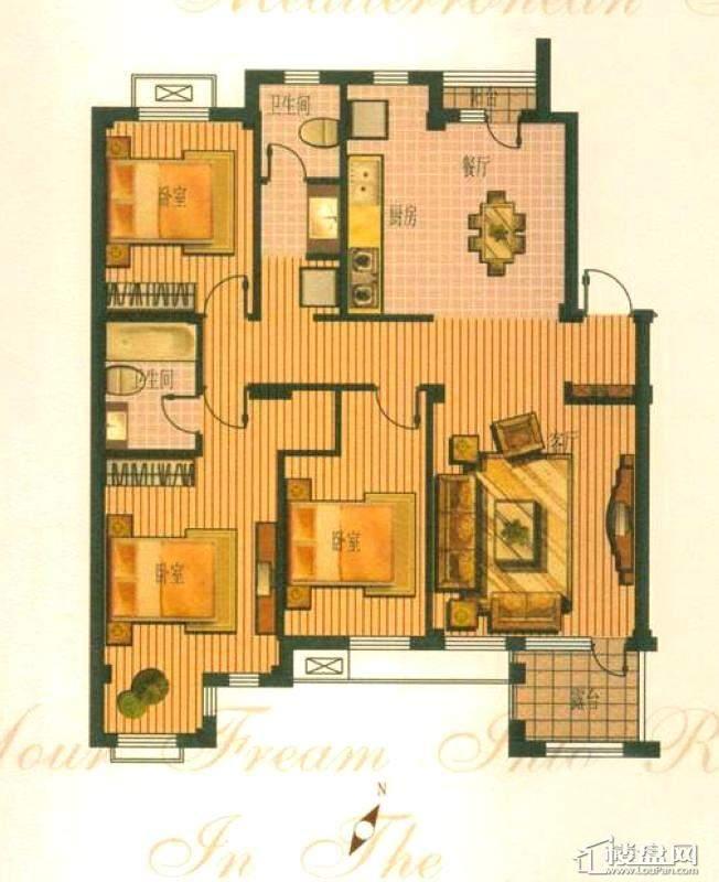 钻石湾地中海阳光多层标准层D户型图3室2厅2卫2厨