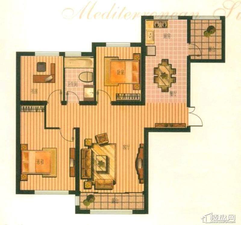 钻石湾地中海阳光小高层A户型图3室2厅1卫1厨