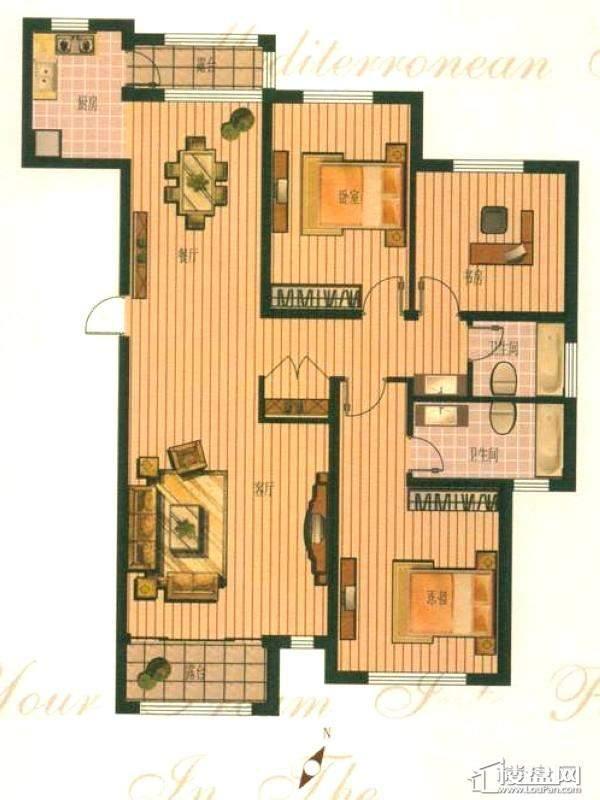 钻石湾地中海阳光小高层B户型图3室2厅2卫1厨