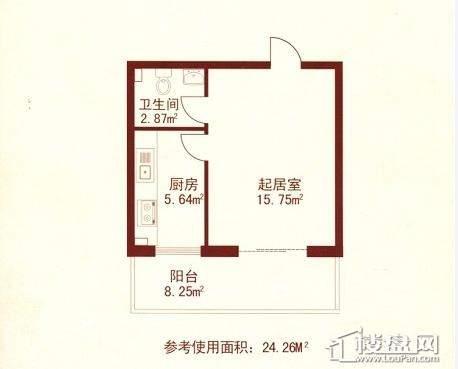 江城之珠01户型图1室1厅1卫