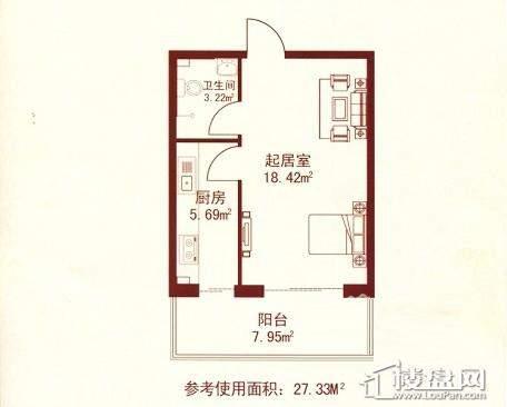江城之珠02户型图1室1厅1卫