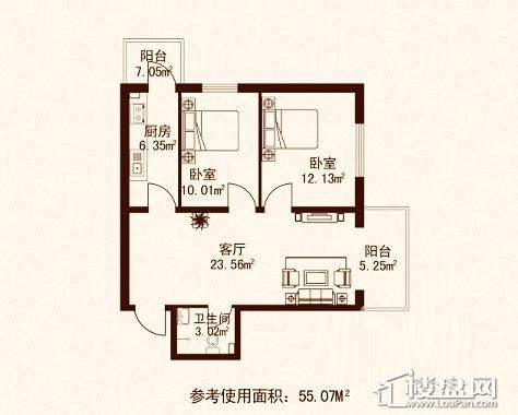 江城之珠03户型图2室1厅1卫