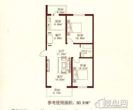 江城之珠05户型图2室1厅1卫