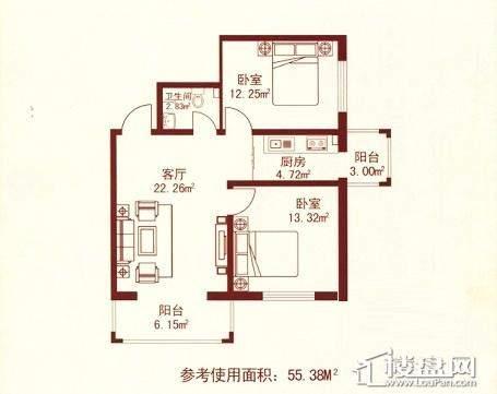 江城之珠06户型图2室1厅1卫