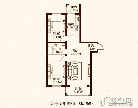 江城之珠08户型图2室1厅1卫1厨