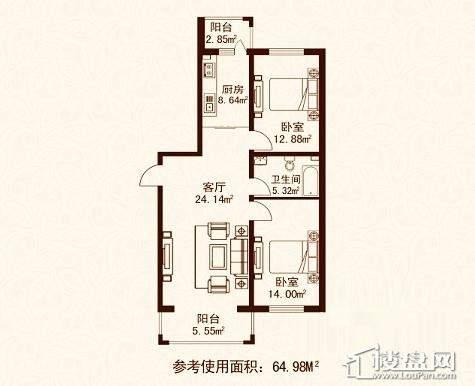 江城之珠09户型图2室1厅1卫