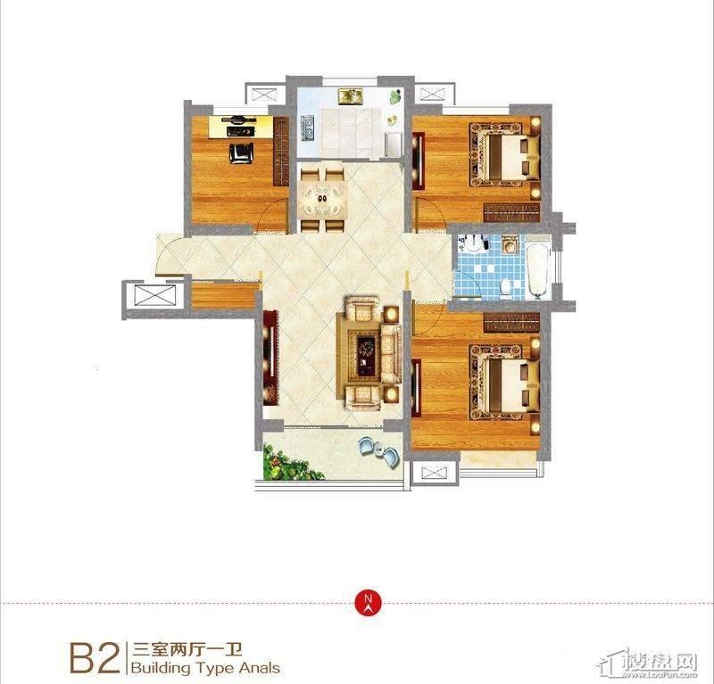 东方新天地B2户型图 3室2厅1卫1厨