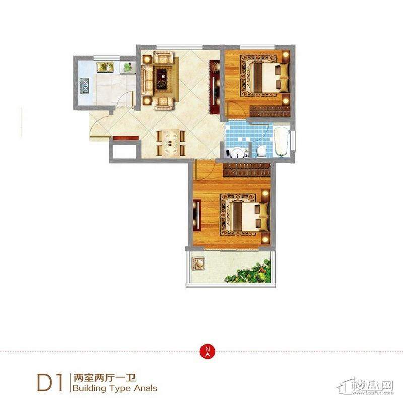 东方新天地D1户型图2室2厅1卫1厨