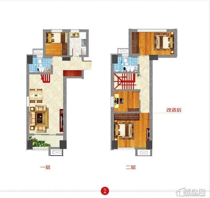 东方新天地L1户型图3室2厅2卫1厨