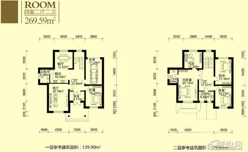亚布力青云小镇别墅户型1-279.36平方米4室2厅2卫1厨