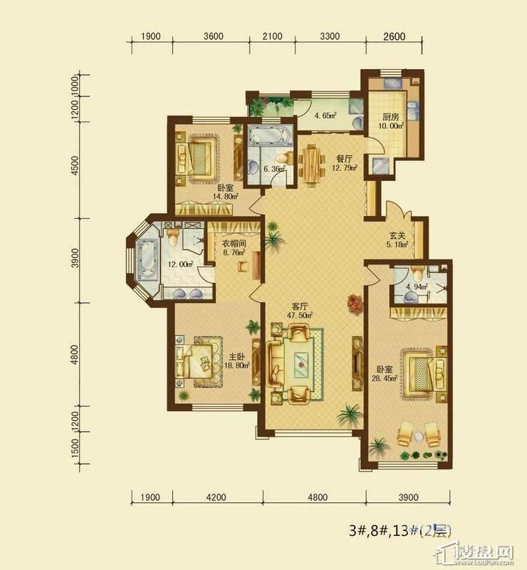 辰能溪树河谷B户型2层3室2厅3卫