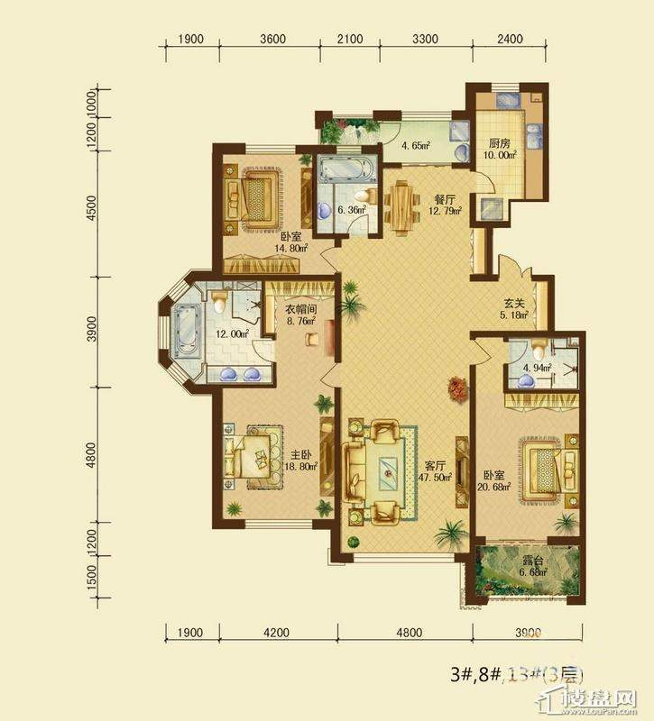辰能溪树河谷B户型3层3室2厅3卫