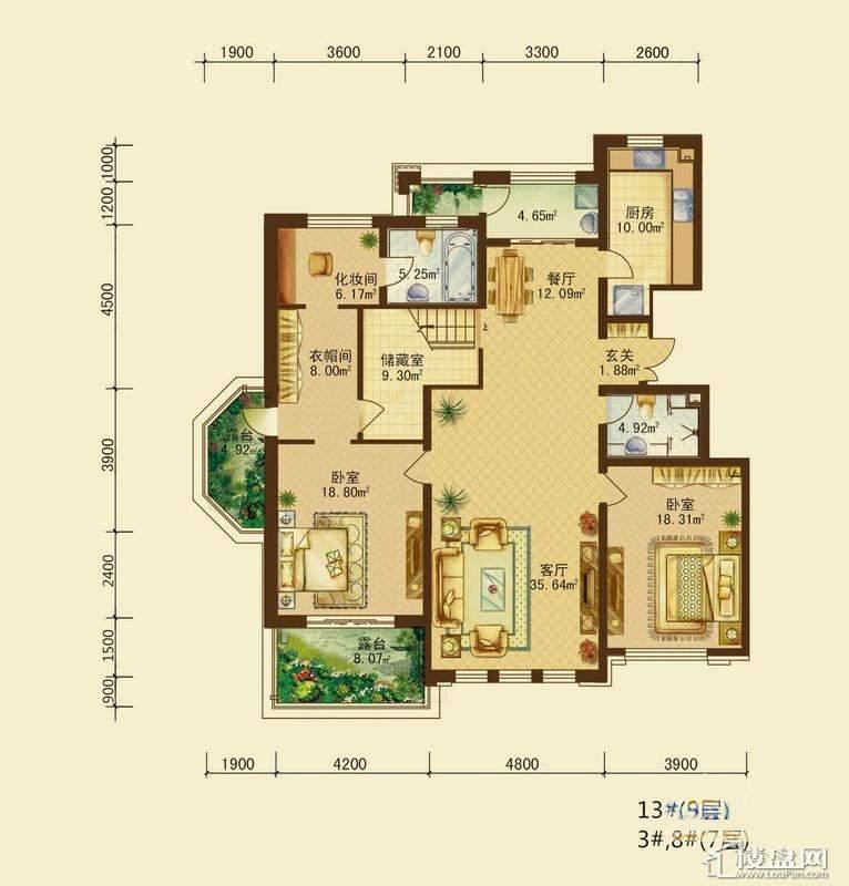辰能溪树河谷B户型9层2室2厅2卫