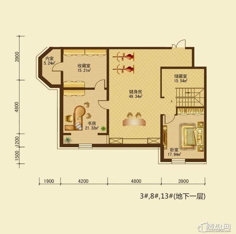 辰能溪树河谷B户型地下室2室1厅