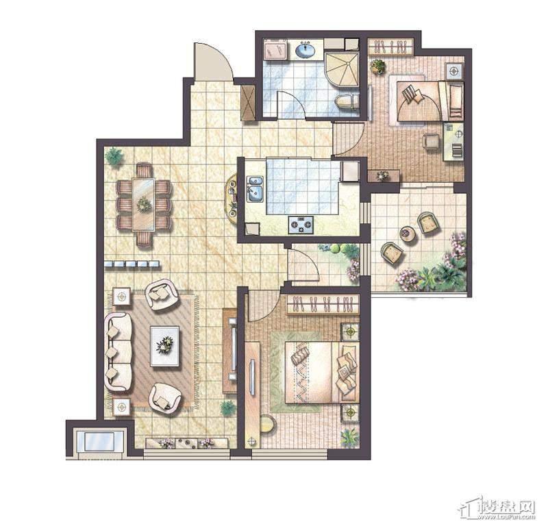 A户型2室2厅1卫1厨