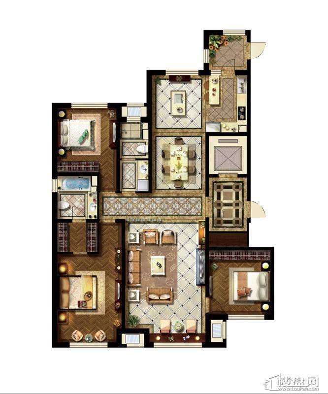 C户型3室3厅2卫1厨