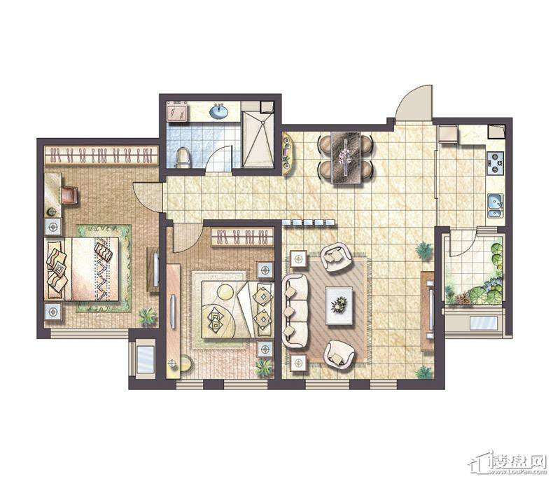F户型2室2厅1卫1厨
