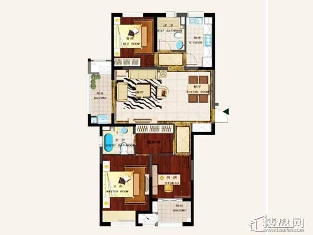 D户型3室2厅2卫1厨