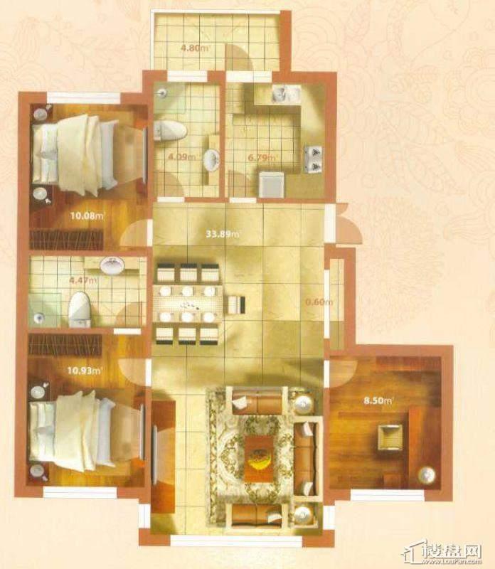 A户型3室2厅2卫1厨