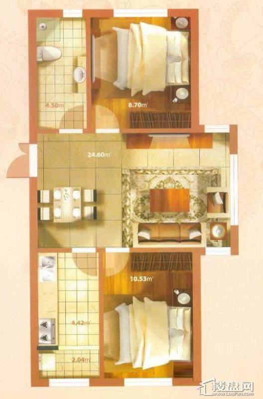 G户型2室2厅1卫1厨