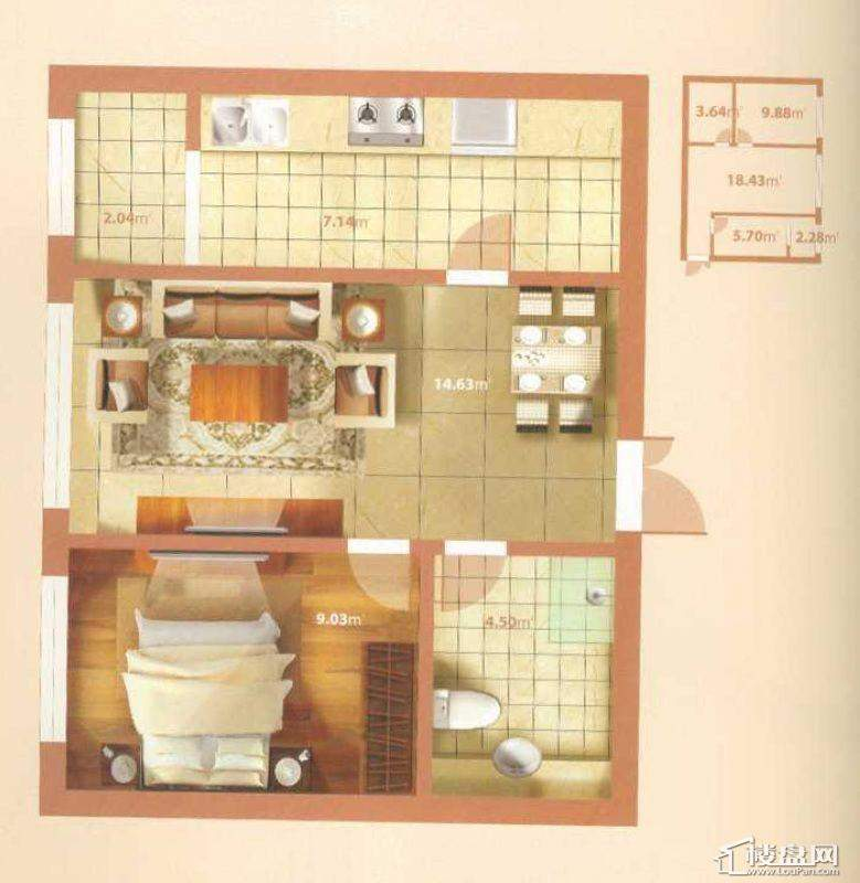 H户型1室1厅1卫1厨