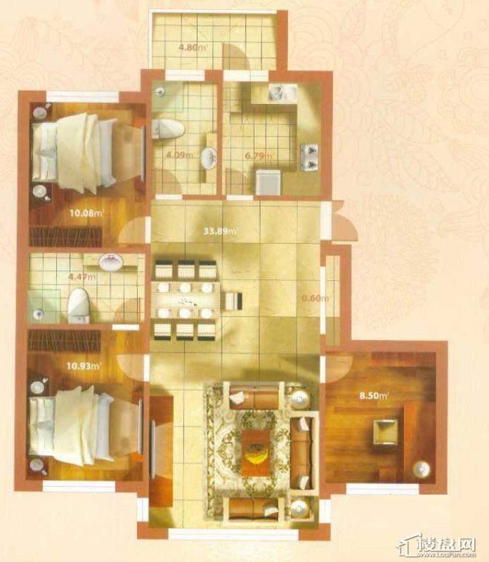K户型3室2厅2卫1厨