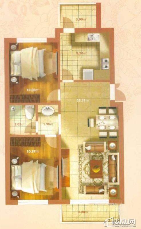 L户型2室2厅1卫1厨