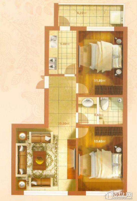 M户型2室1厅1卫1厨