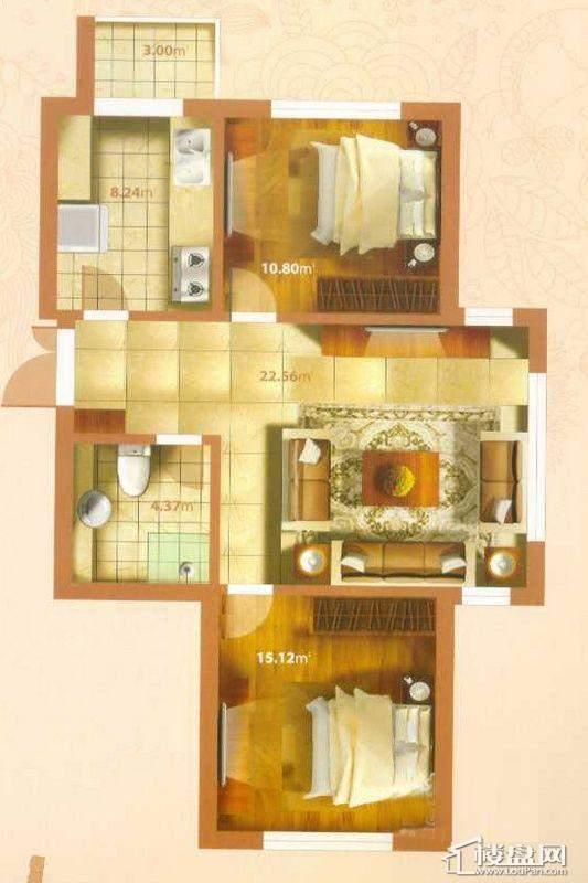 O户型2室1厅1卫1厨