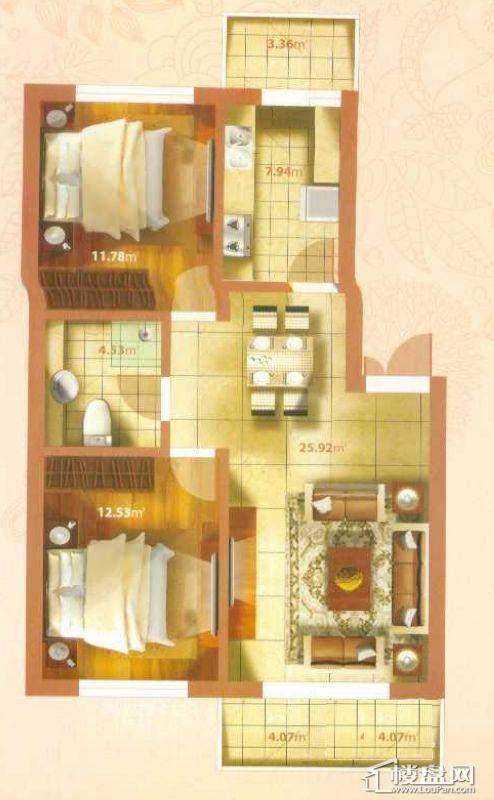 P户型2室2厅1卫1厨
