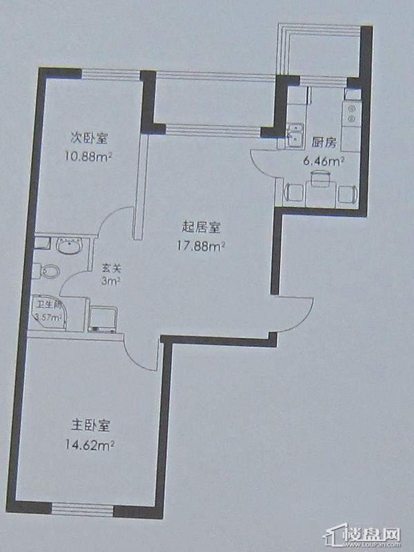 幸福港湾B户型2室2厅1卫1厨