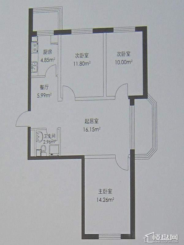 幸福港湾C户型3室2厅2卫1厨