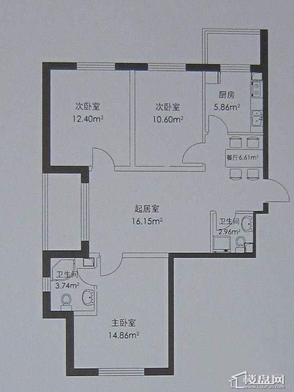 幸福港湾D户型3室2厅1卫1厨