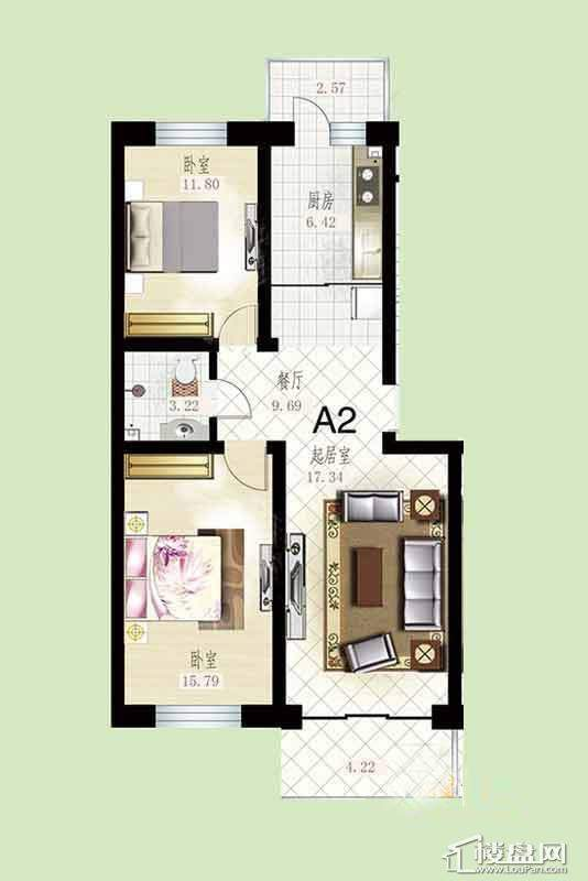 悦然佳境A2户型图2室2厅1卫1厨