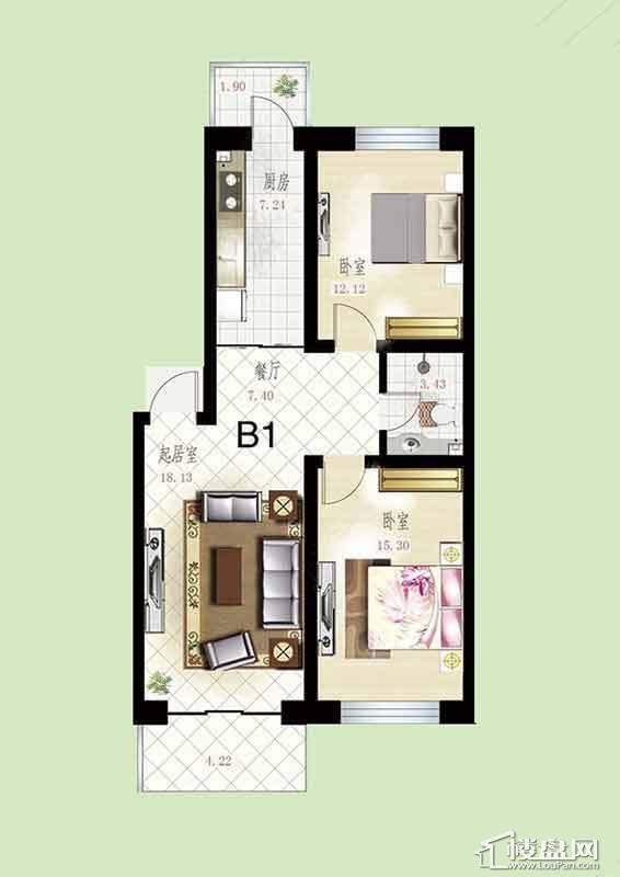悦然佳境B1户型图3室2厅1卫1厨
