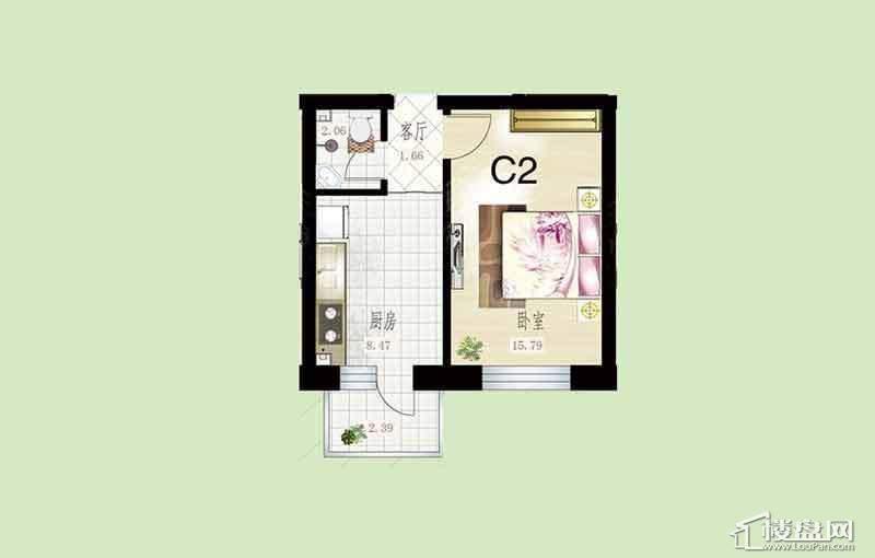 悦然佳境C2户型图1室1厅1卫1厨