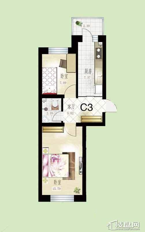 悦然佳境C3户型图2室1厅1卫1厨